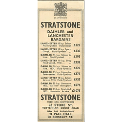 1936 Stratstone, Daimler And Lanchester Bargains Tottenham Court Road