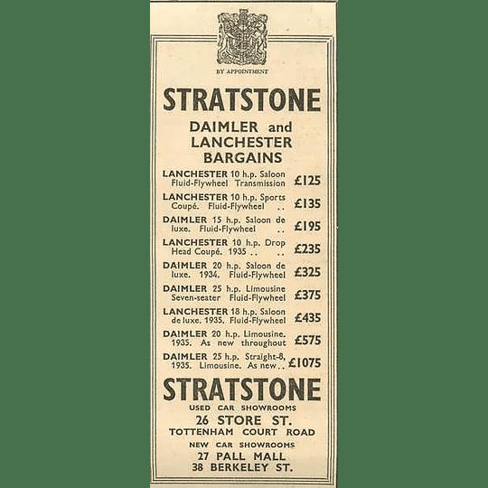1936 Stratstone, Daimler And Lanchester Bargains Tottenham Court Road