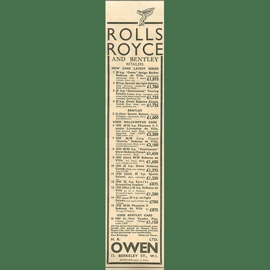1936 Hr Owen Berkeley Street W1 Rolls-royce Bentley