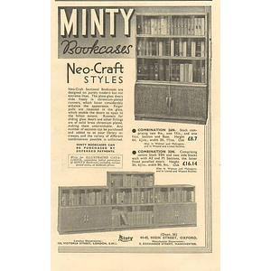 1936 Minty Bookcases, Neo Craft Styles