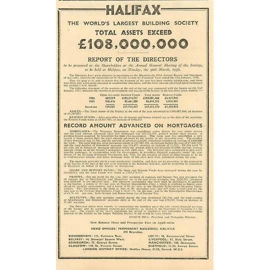 1936 Worlds Largest Building Society Assets Exceed 108 Million