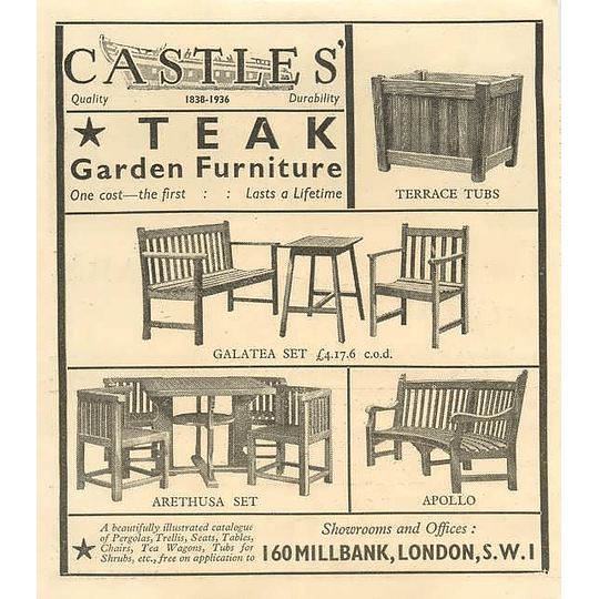 1936 Castles Teak Garden Furniture 160 Millbank London