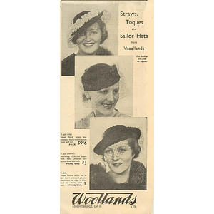 1936 Woollands Of Knightsbridge Straws Sailor Hats