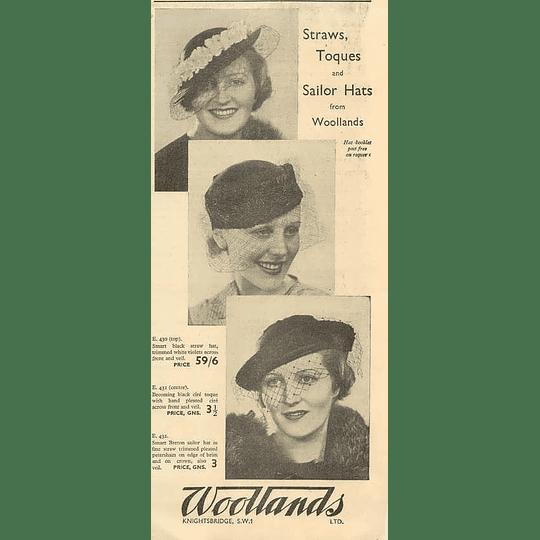 1936 Woollands Of Knightsbridge Straws Sailor Hats