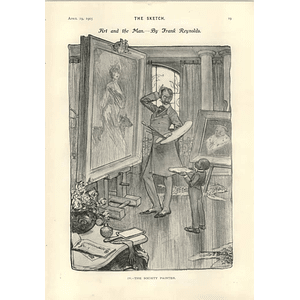 1905 Frank Reynolds Caricature Of The Society Painter Gm Payne Cartoon Possible Editor