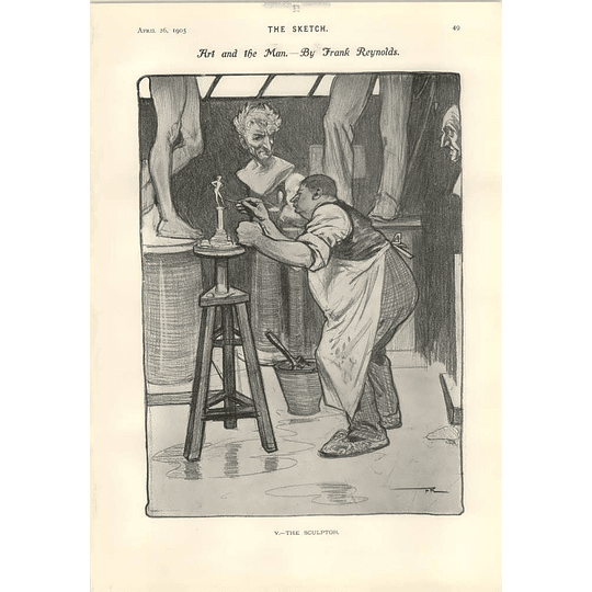 1905 Frank Reynolds Caricature Of The Sculptor Frank Chesworth Actor Manager's Death Scene