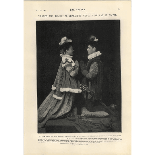 1905 Mr Esme Percy And Miss Dorothy Minto Elizabethan Costume As Romeo And Juliet