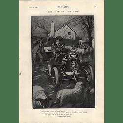 1905 Charles Crombie Cartoon Motorcar Man Meets Sheep John Hassall Always Polite