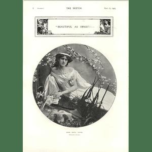 1905 Miss Zena Dare Reclining Pose Photo Portrait