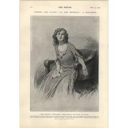 1905 Miss Evelyn Millard Sketch Portrait As Juliet Hamlet At The Lyric