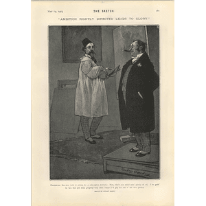 1905 Dudley Hardy Cartoon Ambition Leads To Glory Dr Afraid Of Morality
