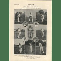 1905 English Team For First Test Match Gunn Lillie Jones Maclaren Arnold Wl Wyllie As Pavement Artist