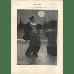 1905 Lawson Wood Cartoon Ancient Mariner On The Starboard Tack Stephen Phillips Lyric
