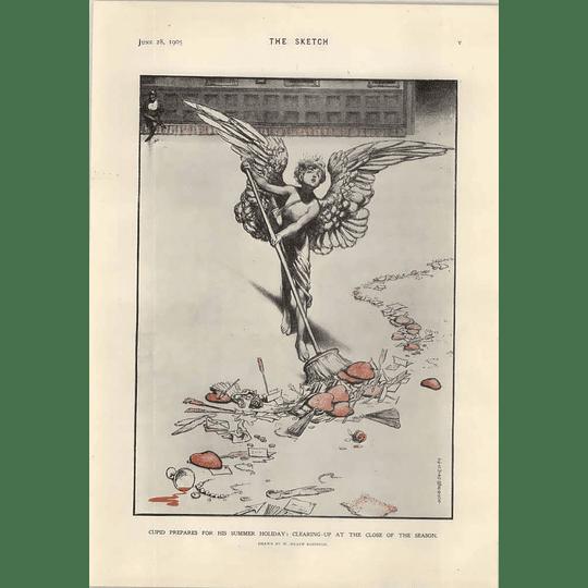 1905 Heath Robinson Cupid Preparing For His Summer Holiday
