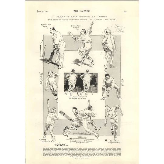1905 Cricket Match Between Actors And Authors At Lord's Sir William Abdy