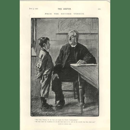 1905 Revised Version Of The Fourth Commandment Cartoon Charles Harrison Problem Dress