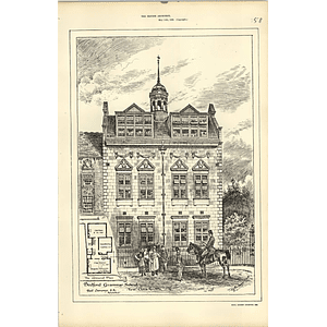 1886, Bedford Grammar School, New Class Rooms, Champneys, Design Plan