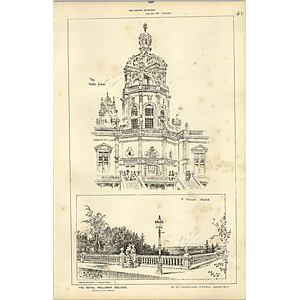 1886, The Royal Holloway College, Terrace Sketch Chadwick Architect