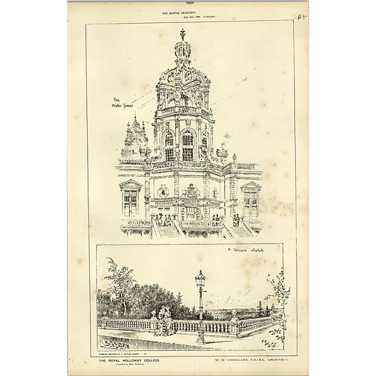 1886 The Royal Holloway College Terrace Sketch Chadwick
