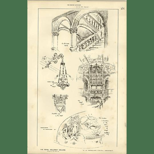 1886, Royal Holloway College, Interior Decor, Organ, Lighting Pendant