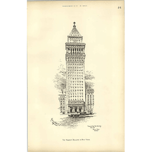 1891 Proposed New Sun Building New York, Highest Building Bruce Price