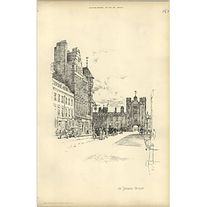 1893, Pavement Sketch Of St James's Street In London By Raffles Davison
