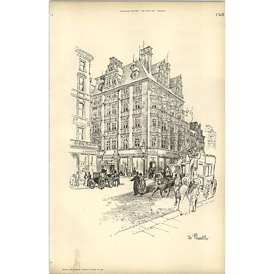 1893, Street Sketch In Piccadilly By Raffles Davison