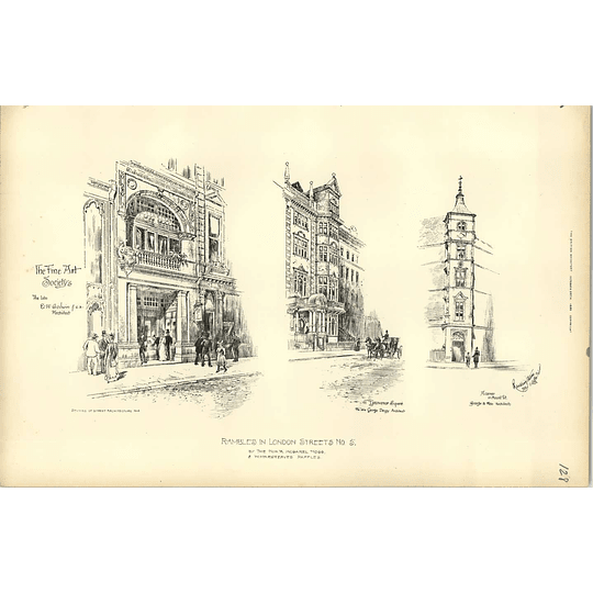 1892, Fine Art Societies, 41 Grosvenor Square, Mount Street Sketched R Davison