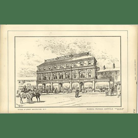 1889, Sheffield Business Premises Binns Tailor Flockton Gibbs