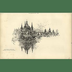 1888, Glasgow Exhibition, Lake, Gondola, Sketch By Raffles Davison
