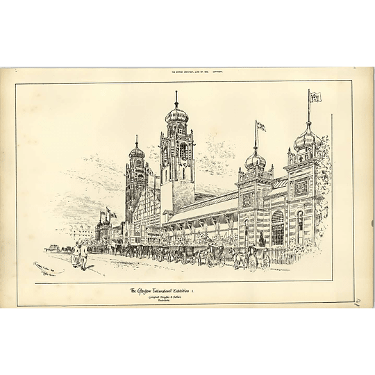 1888, Glasgow Exhibition, Magnificent Sketch With Carriages, Raffles Davison