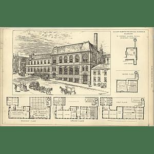 1889, Allan Glen Technical School Glasgow, Design Floor Plans Forrest Salmon