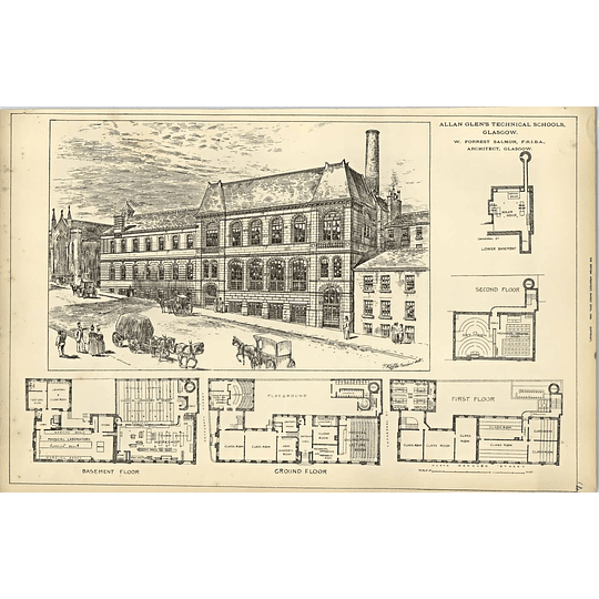 1889, Allan Glen Technical School Glasgow, Design Floor Plans Forrest Salmon