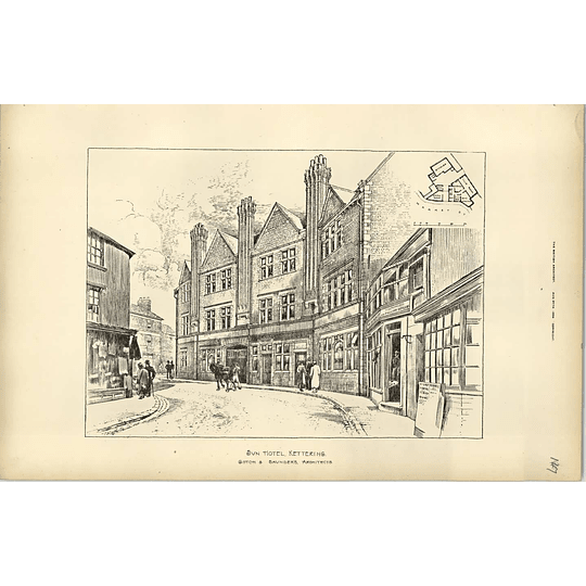1894, Sketch Of The Sun Hotel Kettering, Gotch Saunders Architect