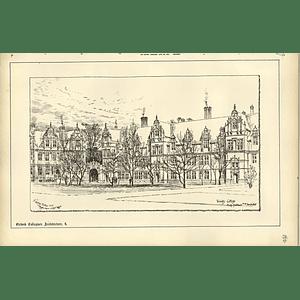 1888, Trinity College Oxford, Raffles Davison Sketch, Tg Jackson Architect