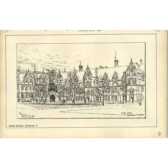 1888, Trinity College Oxford, Raffles Davison Sketch, Tg Jackson Architect