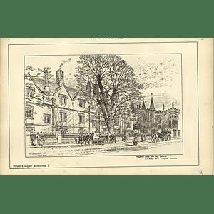1888, Magdalen College Oxford Now Being Completed, Sketch Raffles Davison