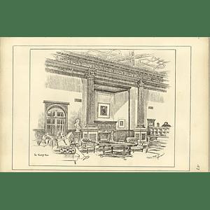 1888, The National Liberal Club, Reading Room, Sketch By Raffles Davison