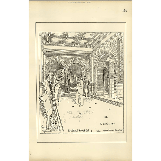 1888, The National Liberal Club, The Entrance Hall