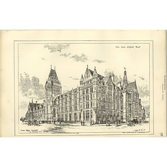 1887, Owens College Manchester Alfred Waterhouse, View From Oxford Road