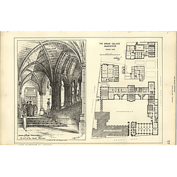 1887, Owens College Manchester, Grand Staircase, Plan Quadrangle