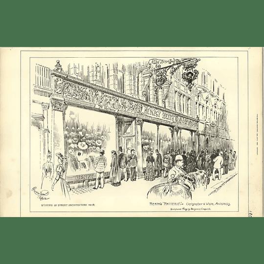 1890, Henry Heath, Hatterie, Shop Front, Sculptured Frieze Benjamin Creswick