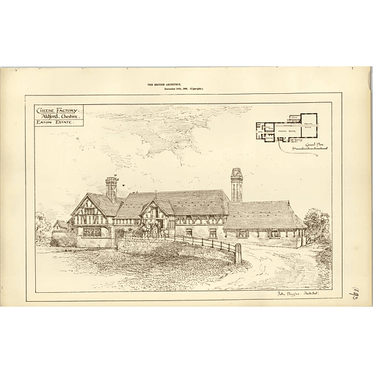 1885, Cheese Factory Aldford Cheshire, Eaton Estate, John Douglas Architect