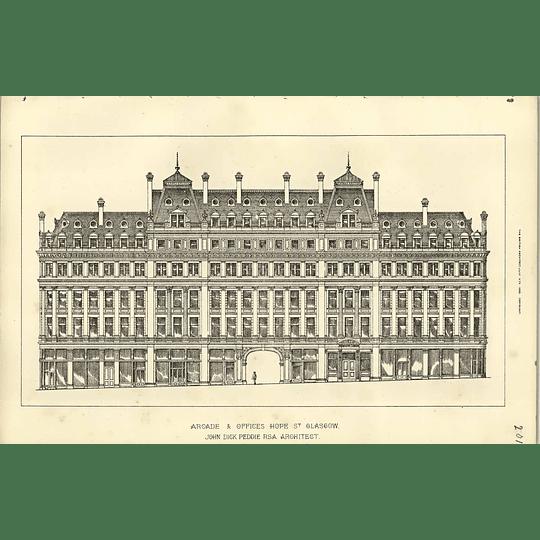 1890, Arcade And Offices In Hope Street Glasgow, John Peddie