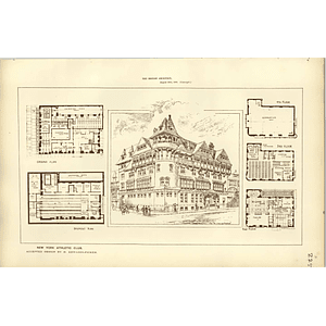1886, New York Athletic Club, Design Floor Plan Edwards Ficken