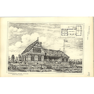 1885, Huddersfield Cricket Pavilion Design, Plan, Edward Hughes Architect