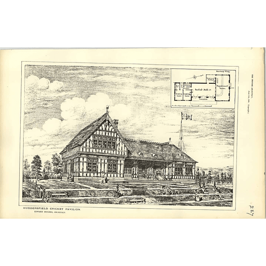 1885, Huddersfield Cricket Pavilion Design, Plan, Edward Hughes Architect