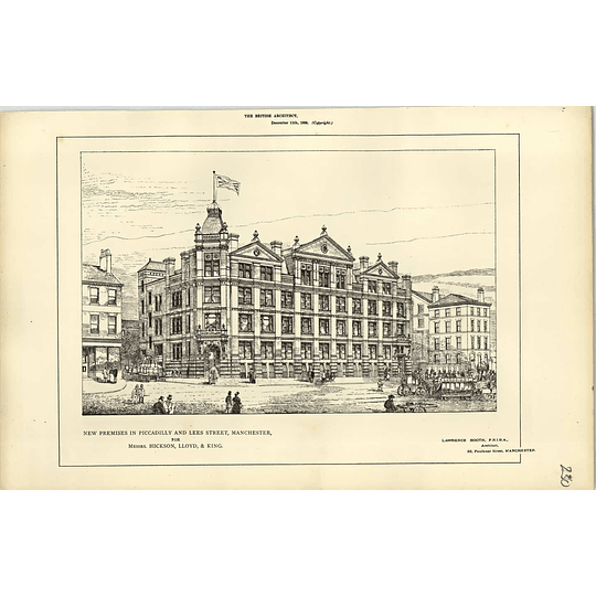 1885, New Premises In Piccadilly Lees Street Manchester For Hickson Lloyd King