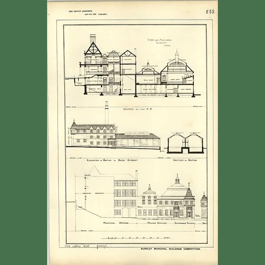 1885, Burnley Municipal Buildings Comp, Baths, Police Offices, Dunn Maclaren