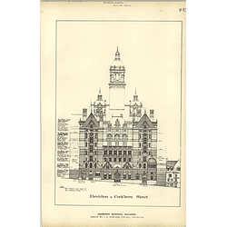 1887, Edinburgh Municipal Buildings, Elevation To Cockburn Street Jb Everard